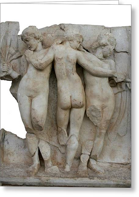 The Three Graces Of Aphrodisias Greeting Card by Tracey Harrington-Simpson