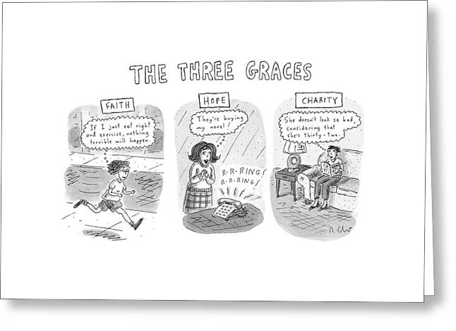 'the Three Graces' Greeting Card by Roz Chast