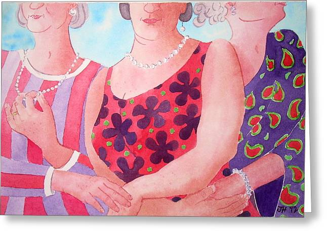 The Three Gracies Greeting Card by Julie  Hutchinson