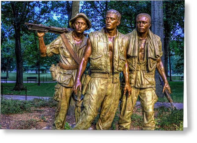 The Three Soldiers Facing The Wall Greeting Card