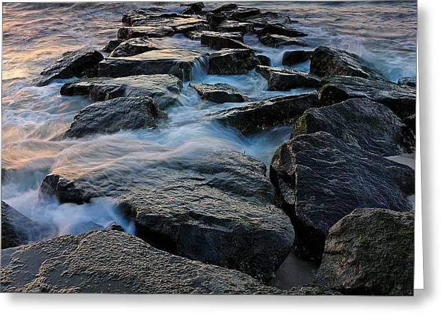 The Tide Rolls In Greeting Card by Rick Berk