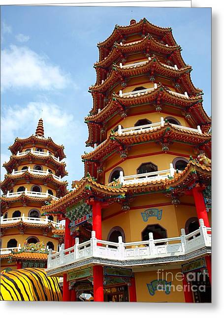 The Tiger And Dragon Pagodas In Taiwan Greeting Card