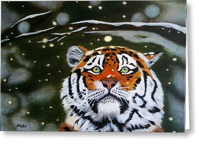 The Tiger In Winter Greeting Card