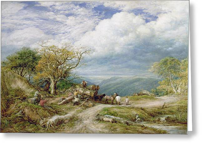 The Timber Wagon Greeting Card by John Linnell