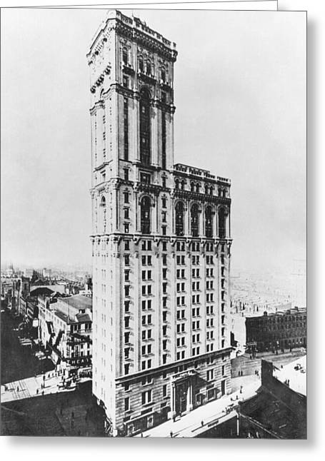 The Times Building, New York, C.1900 Bw Photo Greeting Card by American Photographer