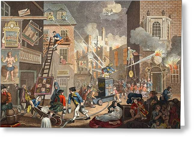 The Times, Plate I, Illustration Greeting Card by William Hogarth