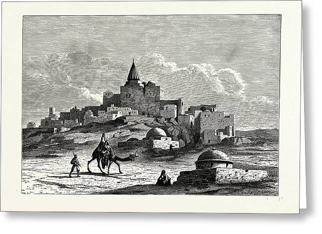 The Tomb Of Jonah, Near The Mosque, On The Artificial Mound Greeting Card by English School