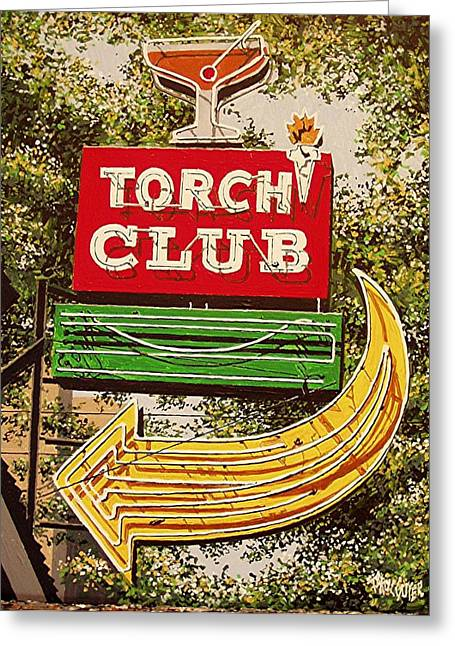 The Torch Club Greeting Card by Paul Guyer
