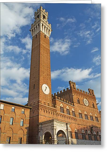 The Torre Del Mangia In Siena  Greeting Card
