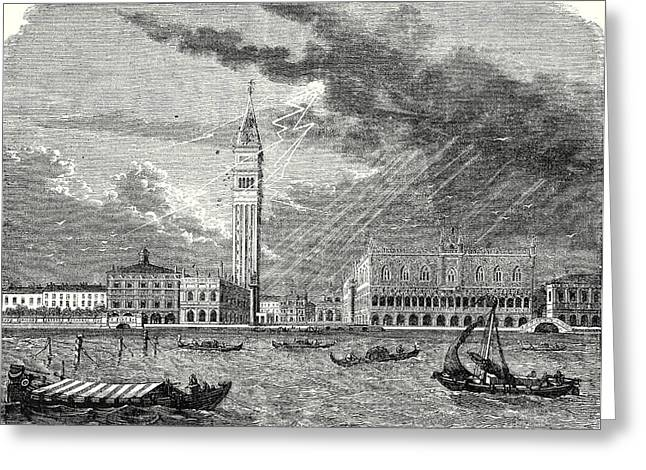 The Tower Of St. Marks In Venice Struck And Damaged Greeting Card by English School