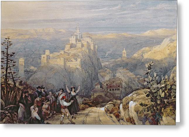 The Town And Castle At Loja, Spain, 1834 Greeting Card by David Roberts