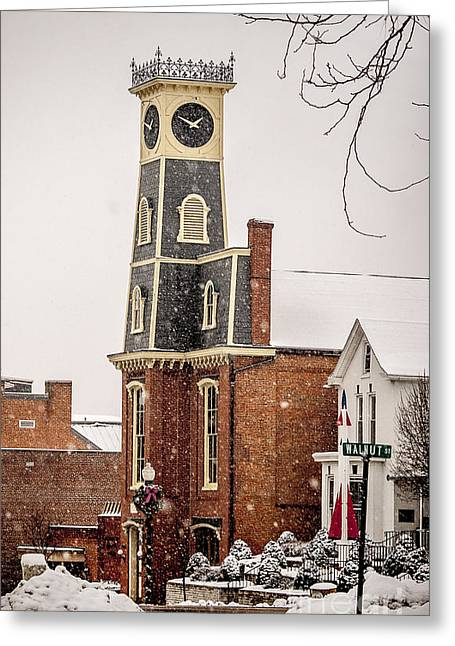 The Town Clock In December Greeting Card