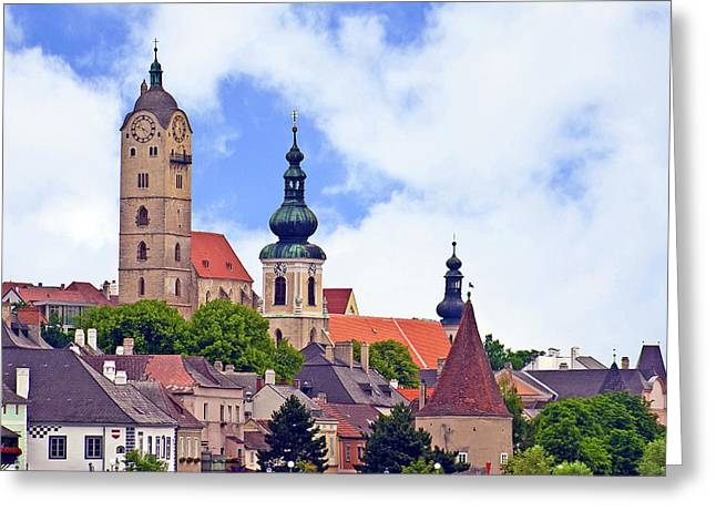 The Town Of Krems Along The Danube Greeting Card by Miva Stock