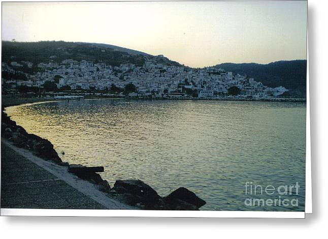 The Town Of Skopelos Greeting Card by Katerina Kostaki