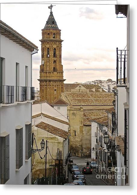 The Town Tower Greeting Card by Suzanne Oesterling