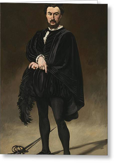 The Tragedian Actor Rouviere As Hamlet Greeting Card