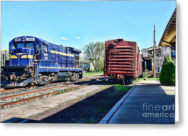 The Train Depot Greeting Card by Paul Ward