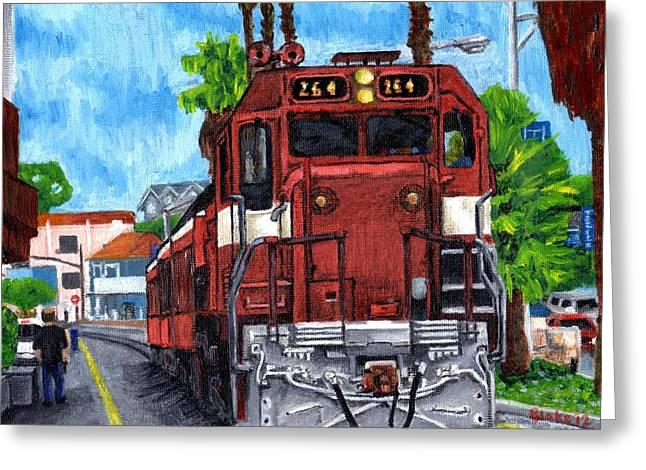 The Train From Santa Cruz Greeting Card by Blake Grigorian