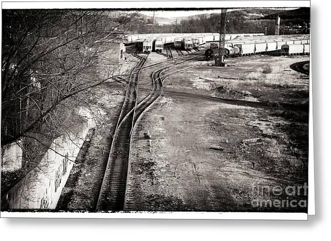 The Train Yard Greeting Card by John Rizzuto