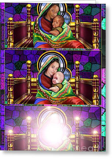 The Transfiguration Of Madonna And Child  Greeting Card by Reggie Duffie