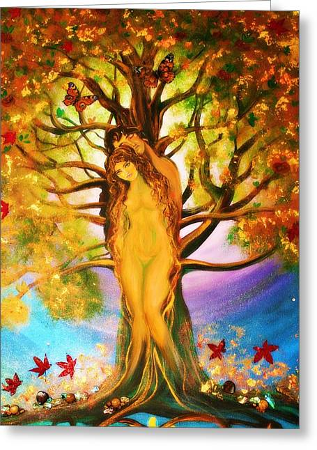 the Transformation of Adam and Eve  Greeting Card by Alma Yamazaki