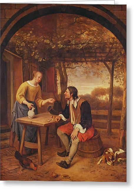 The Travellers Rest Oil Greeting Card by Jan Havicksz. Steen