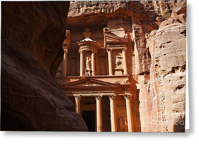 The Treasury Seen From From The Siq Petra Jordan Greeting Card by Robert Preston