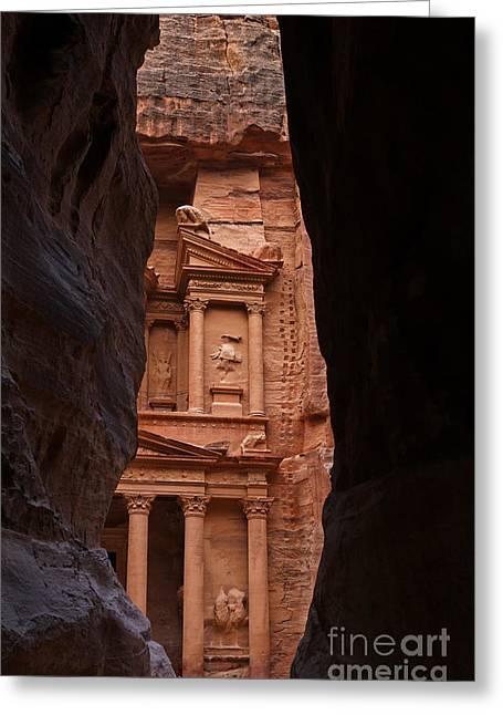 The Treasury Seen From The Siq Petra Jordan Greeting Card by Robert Preston