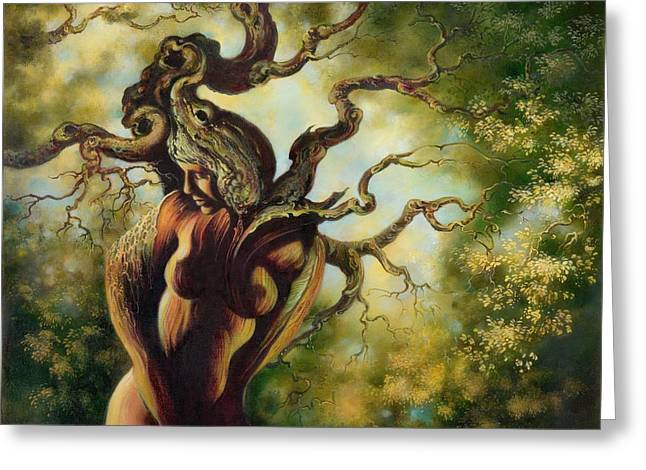 Greeting Card featuring the painting The Tree by Anna Ewa Miarczynska