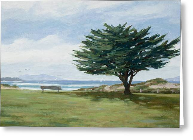 The Tree At Marina Park Greeting Card by Tina Obrien