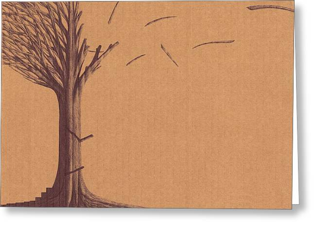Greeting Card featuring the drawing The Tree Of Life - Immigration by Giuseppe Epifani