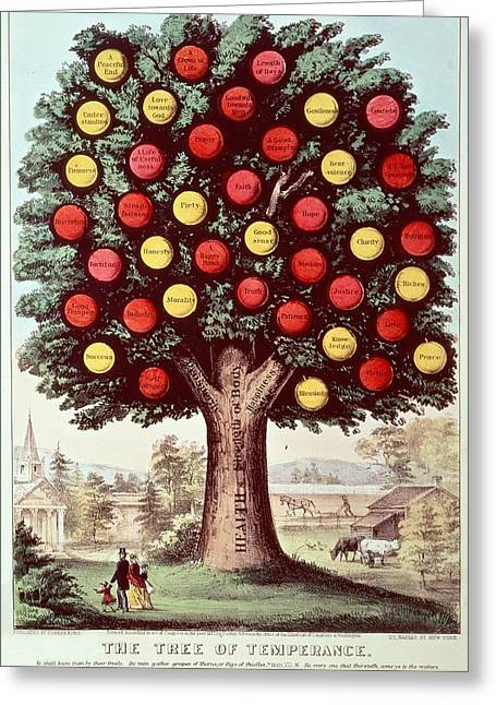 The Tree Of Temperance, 1872 Colour Litho Greeting Card by N. Currier