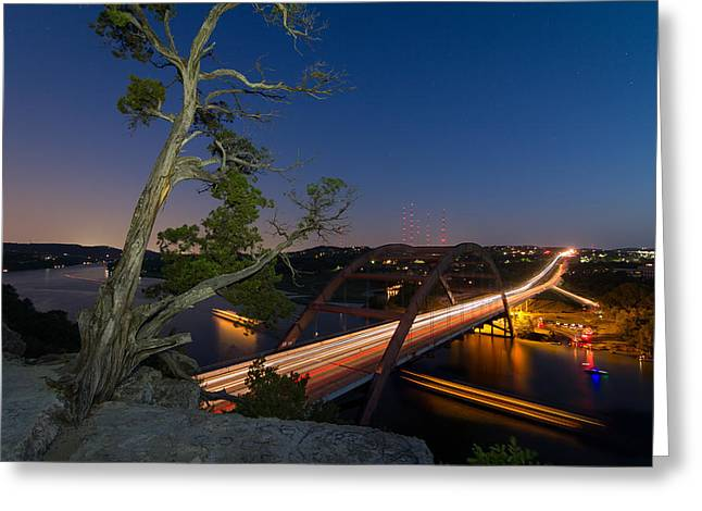 The Tree Over The Pennybacker Bridge Greeting Card by Tim Stanley