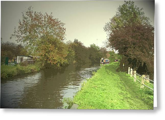 The Trent And Mersey Canal Near Clay, Autumnal Towpath Greeting Card by Litz Collection