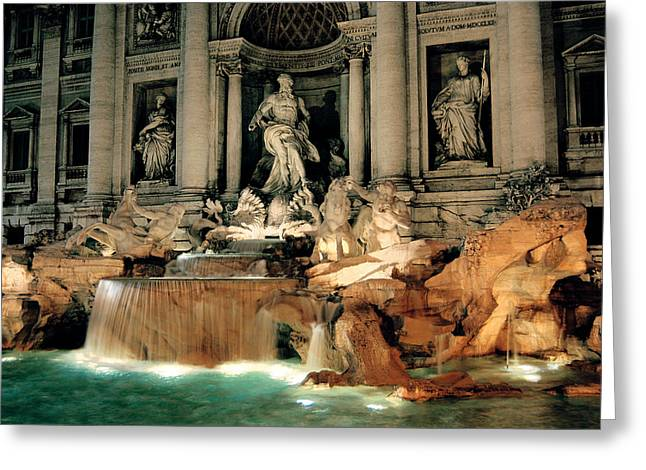 Architecture Greeting Cards - The Trevi Fountain Greeting Card by Traveler Scout