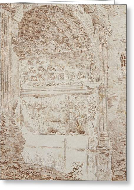 The Triumph Of Rome, Arc Of Titus Red Chalk On Paper Greeting Card by Hubert Robert