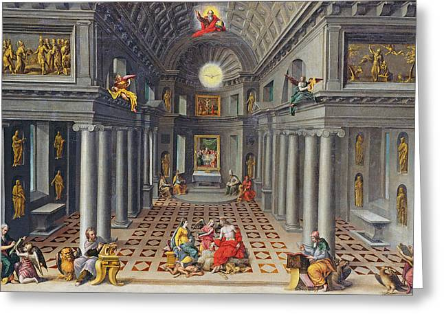 The Triumph Of The Church Or An Allegory Of Christianity Oil On Canvas Greeting Card by Hans or Jan Vredeman de Vries