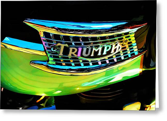 The Triumph Petrol Tank Greeting Card by Steve Taylor