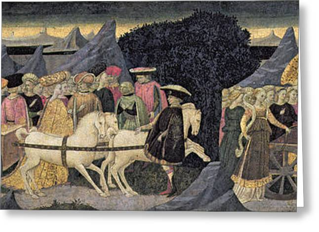 The Triumphs Of Love And Chastity, Part Of The Front Panel Of A Cassone Tempera And Gold On Panel Greeting Card by Apollonio di Giovanni