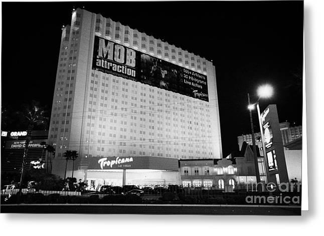 the tropicana hotel and casino at night Las Vegas Nevada USA Greeting Card by Joe Fox