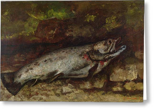 The Trout, 1873  Greeting Card by Gustave Courbet