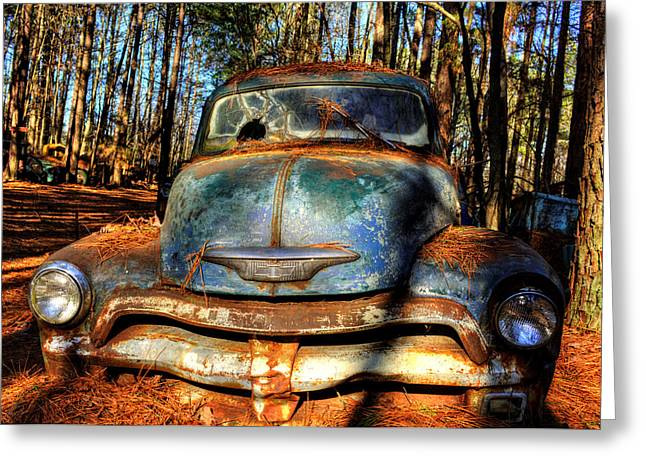 The Truck In The Woods Greeting Card by Greg Mimbs
