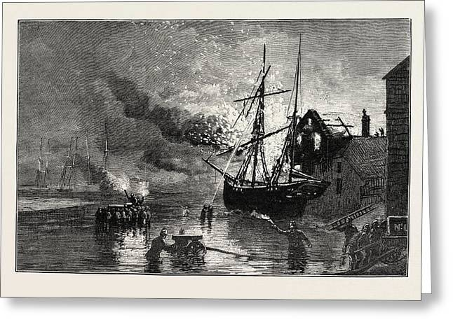 The Truro Volunteer Fire Brigade At A Fire On The Quay Side Greeting Card by English School