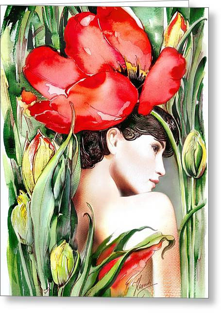 Greeting Card featuring the painting The Tulip by Anna Ewa Miarczynska