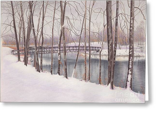 The Tulip Tree Bridge In Winter Greeting Card