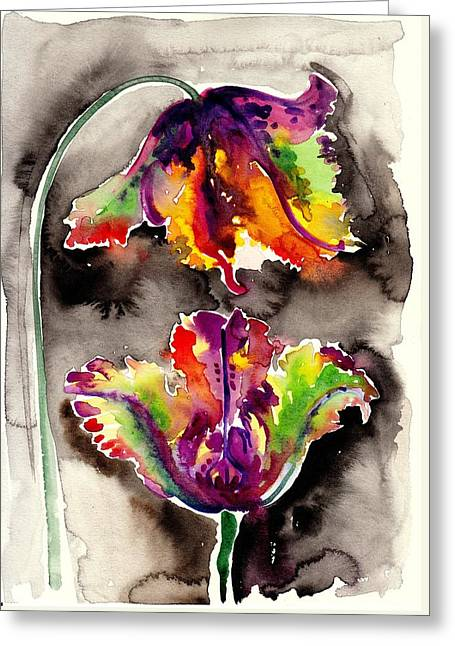 The Tulips Kiss - Watercolor Greeting Card by Tiberiu Soos