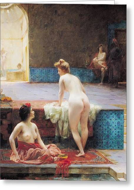 The Turkish Bath, 1896 Oil On Canvas Greeting Card by Serkis Diranian