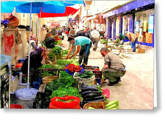 The Turkish Woman's Street-side Vegetable Market Greeting Card by Lanjee Chee