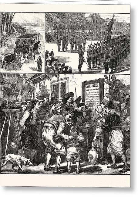 The Turko-servian War, Prince Milan And Staff Saluting Greeting Card by English School