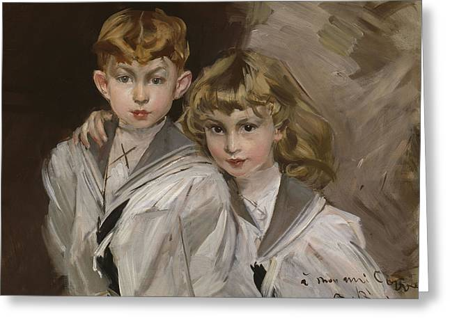 The Two Children Greeting Card by Giovanni Boldini